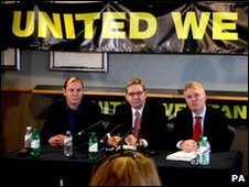 Unite officials address the media