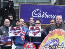 Protesters outside Cadbury