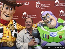 John Lasseter and characters from Toy Story