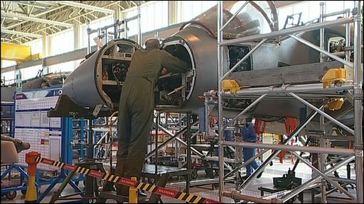 Maintenance staff working on a Harrier