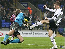 West Ham keeper Robert Green spills the ball to allow Bolton's Ivan Klasnic to score in a 3-1 defeat for the Hammers at the Reebok stadium