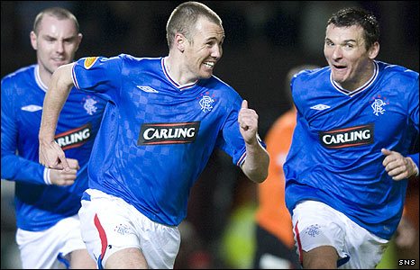 Rangers striker Kenny Miller scored twice at Tannadice