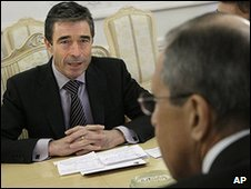 Nato Secretary General Anders Fogh Rasmussen (left) talks to Russian Foreign Minister Sergei Lavrov