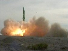 Screen grab of Iranian TV showing missile test launch