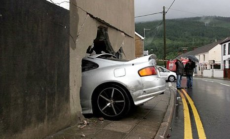 The car that crashed into a kitchen in Resolven. Photo: D Legakis.