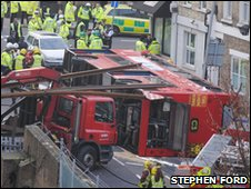The C3 bus toppled over