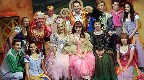 Image of in the Grand Theatre, Swansea in costume for a group picture on stage
