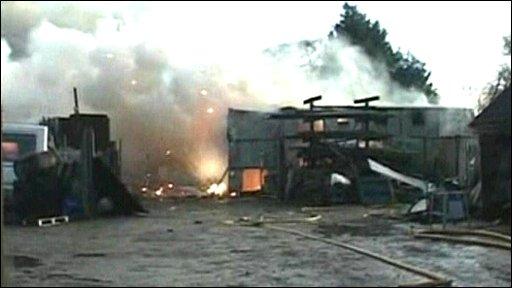 Firework factory on fire