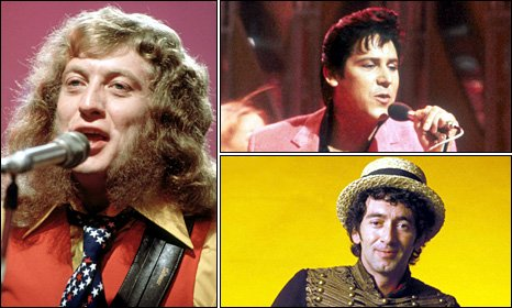 Clockwise, from left: Slade's Noddy Holder, Shakin' Stevens and Jona Lewie