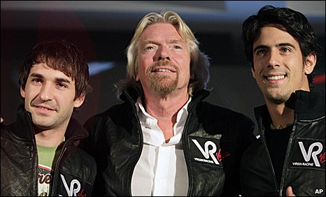 Timo Glock, Richard Branson and Lucas di Grassi