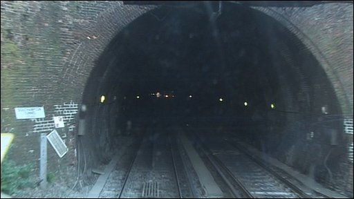 Entering the tunnel from the west