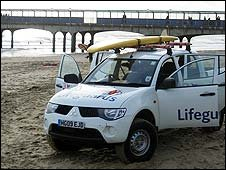 RNLI lifeguard vehicle on Boscombe beach