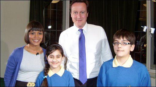 Leah with Press Packers Arian and Nivar, interviewing Conservative party leader David Cameron