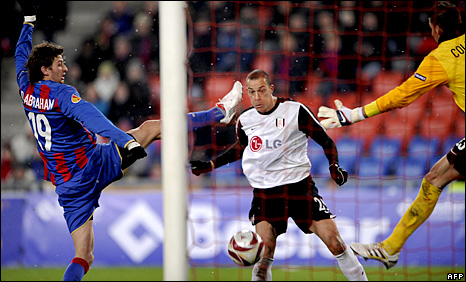 Fulham striker Bobby Zamora scores his side's second goal against Basle