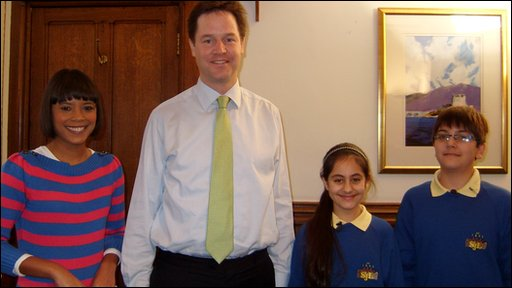 Leah with Press Packers Arian and Nivar, interviewing Liberal Democrats leader Nick Clegg