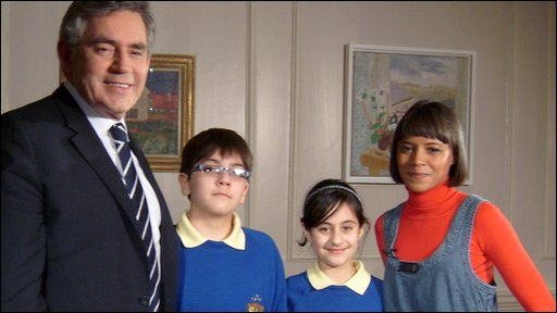 Leah with Press Packers Arian and Nivar, interviewing Prime Minister Gordon Brown