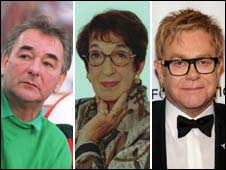 Football coach Brian Clough, agony aunt Marjorie Proops and singer Elton John (pics: PA, Getty)