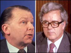 Former defence secretary Francis Pym and former chancellor Geoffrey Howe