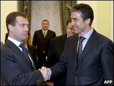 Dmitry Medvedev, left, and Anders Fogh Rasmussen in Moscow, 16 December 2009