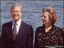 Former US President Jimmy Carter and ex-prime minister Margaret Thatcher in 1980