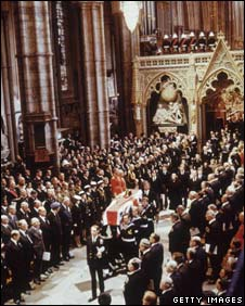 Lord Mountbatten's funeral at Westminster Abbey