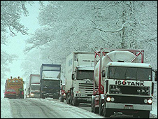 Snowy road (Press Association)