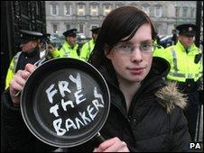 Protestor at Irish budget cuts