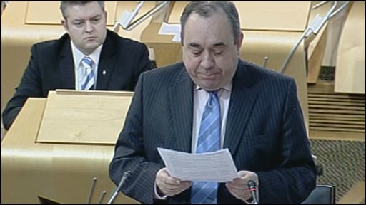 First Minister Alex Salmond during question time