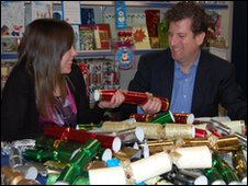 Misia Carroll and David Byk from Chiristmas cracker manufacturer Swantex