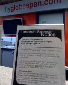 Globespan flight cancellation notice