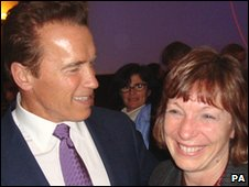 Arnold Schwarzenegger and Welsh Environment Minister Jane Davidson in Copenhagen for the climate summit