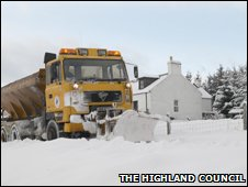 Highland Council snowplough in action