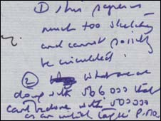 Margaret Thatcher's handwritten notes on a 1989 document (Pic: National Archives)