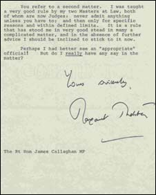 Letter from Margaret Thatcher to Jim Callaghan (Pic: National Archives)