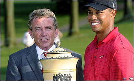 PGA Tour commissioner Tim Finchem and Tiger Woods