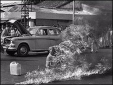 Buddhist Monk Quang Duc sets himself alight in a suicide protest over the alleged persecution of Buddhists by South Vietnamese Government