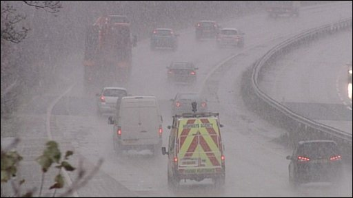 Snow affected traffic in South-east England
