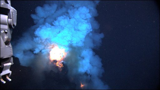 Lava bursts into the water from the West Mata submarine volcano