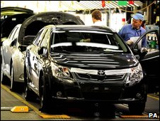 A Toyota Avensis rolls off the production line at the company's Burnaston plant in Derbyshire