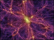 Computer generated image of the Universe, in which dark matter is shown in pink
