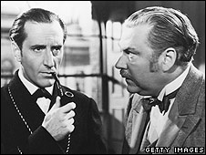 Basil Rathbone and Nigel Bruce in The Adventures of Sherlock Holmes (1939)
