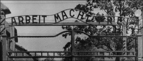 Undated file image of Arbeit Macht Frei slogan at Auschwitz
