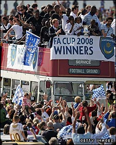Portsmouth celebrate their FA Cup victory with a parade through the streets of the city