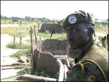 Sudanese soldier at scene of tribal clashes