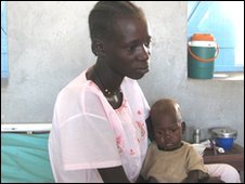 Displaced mother and baby in hospital