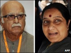 LK Advani (left) Sushma Swaraj