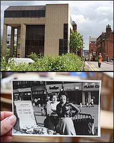 The NUM HQ near Sheffield City Hall, and Barbara with her daughter on Fargate