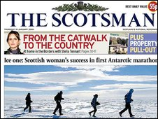 Front page of The Scotsman newspaper Jan 2006