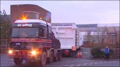 Lorry leaves Air Products factory