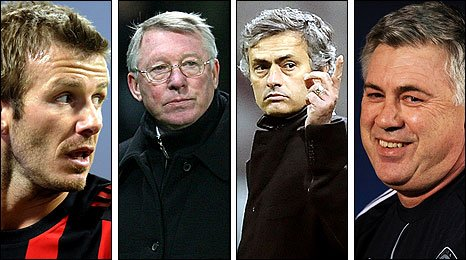David Beckham, Sir Alex Ferguson, Jose Mourinho and Carlo Ancelotti